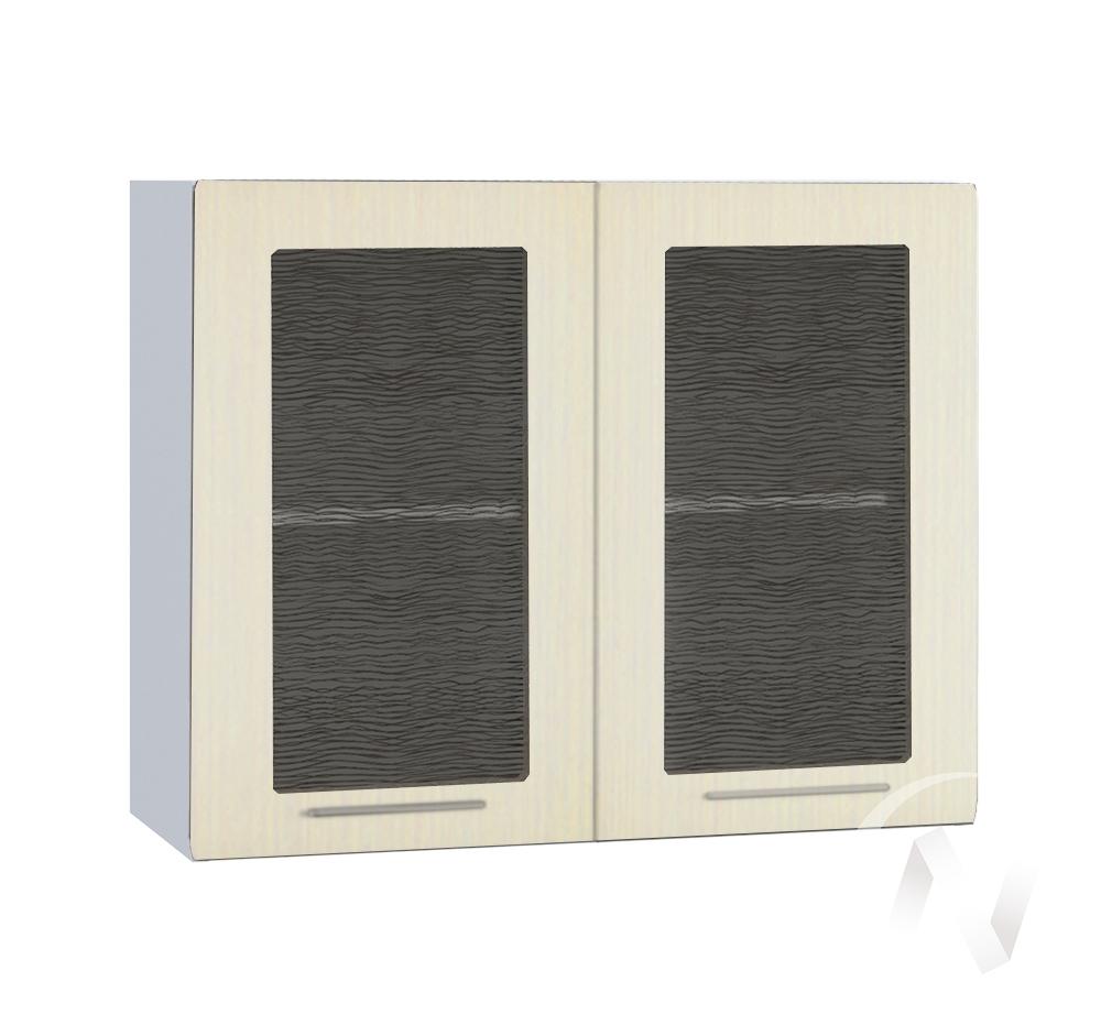 """Кухня """"Люкс"""": Шкаф верхний со стеклом 800, ШВС 800 (Шелк жемчуг/корпус белый)"""