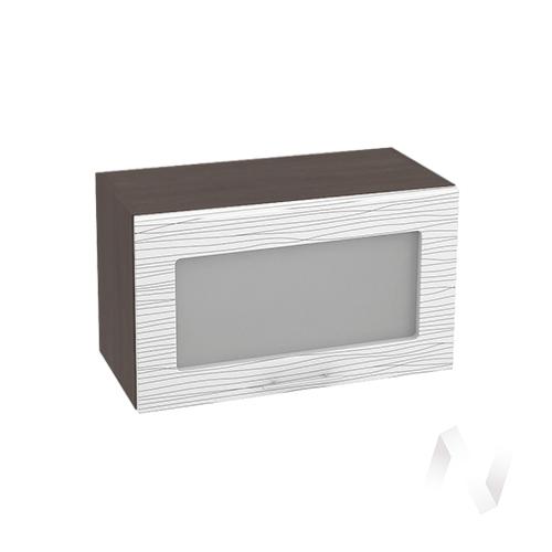 """Кухня """"Валерия-М"""": Шкаф верхний горизонтальный со стеклом 600, ШВГС 600 (Страйп белый/корпус венге)"""