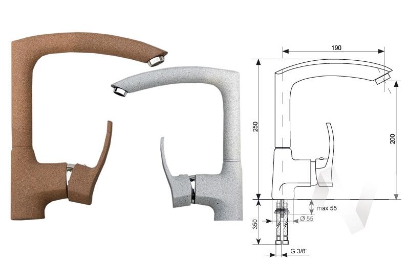 Смеситель керамический U-005 (темно-серый 309)  в Томске — интернет магазин МИРА-мебель