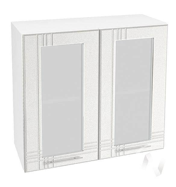 """Кухня """"Струна"""": Шкаф верхний со стеклом 800, ШВС 800 (белый металлик/корпус белый)"""