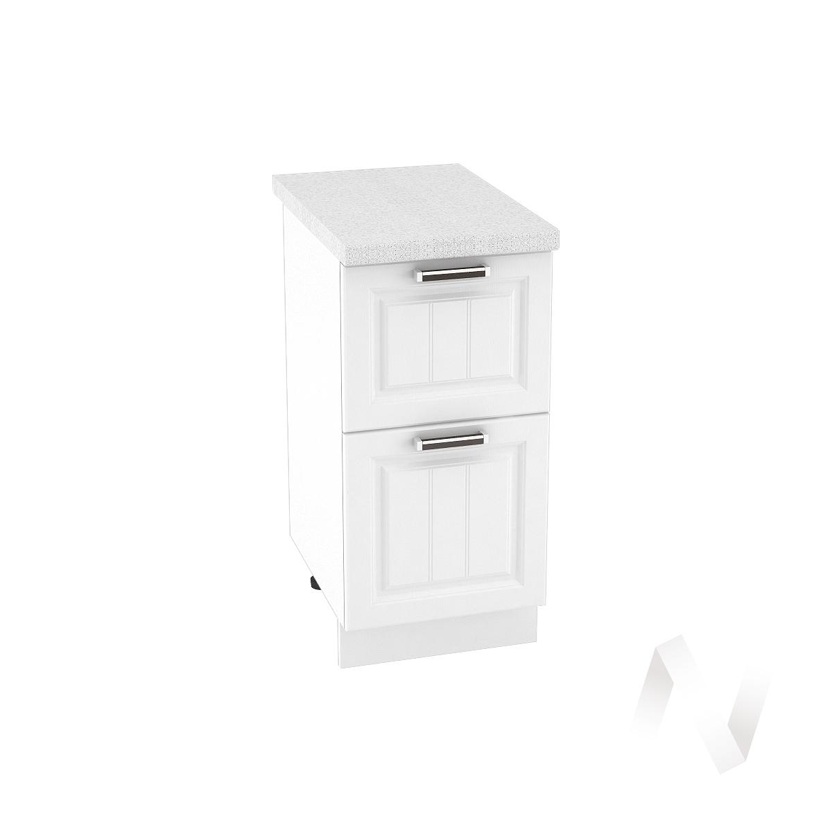 """Кухня """"Прага"""": Шкаф нижний с 2-мя ящиками 400, ШН2Я 400 (белое дерево/корпус белый)"""