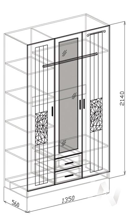 Атлантида Шкаф 3х створчатый (венге-белый глянец) в Томске — авторская мебель Экостиль