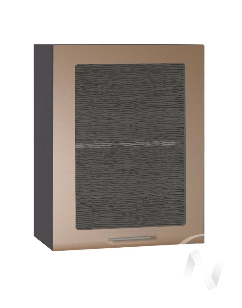 """Кухня """"Люкс"""": Шкаф верхний со стеклом 500, ШВС 500 (Шоколад матовый/корпус венге)"""