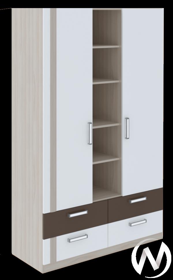 Шкаф трехсекционный Walker М2 (ясень шимо светлый/белый)