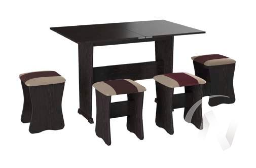 Обеденная группа тип 3 кожзам (венге/шоколад,бежевый) в Томске — авторская мебель Экостиль