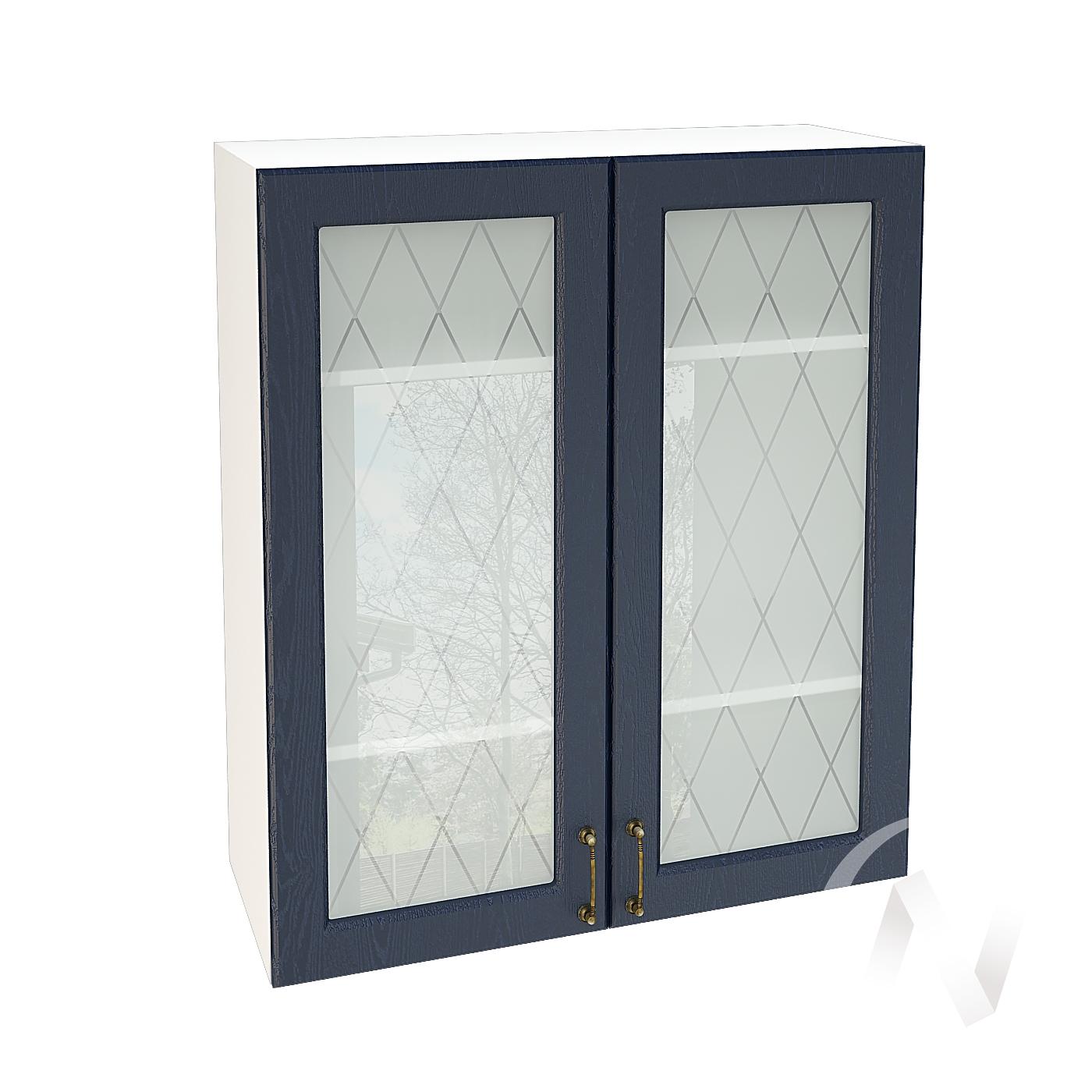"""Кухня """"Ницца"""": Шкаф верхний со стеклом 809, ШВС 809 (Дуб чернильный/корпус белый)"""