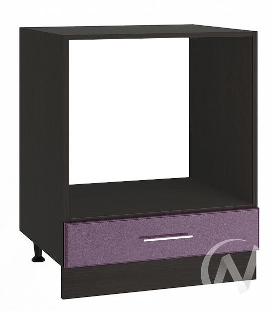 """Кухня """"Струна"""": Шкаф нижний под духовку 600, ШНД 600 (фиолетовый металлик/корпус венге)"""