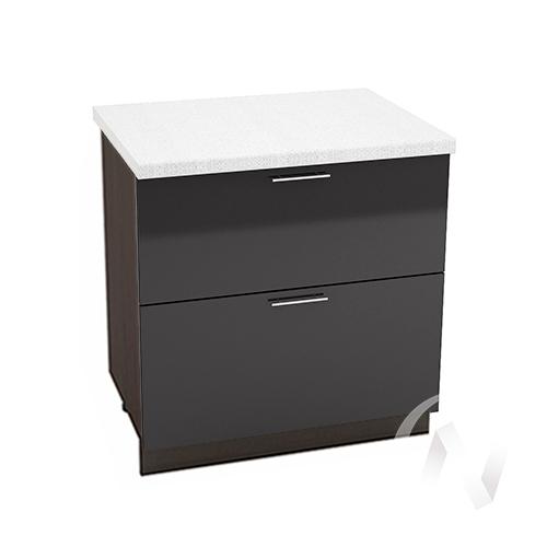 """Кухня """"Валерия-М"""": Шкаф нижний с 2-мя ящиками 800, ШН2Я 800 (черный металлик/корпус венге)"""