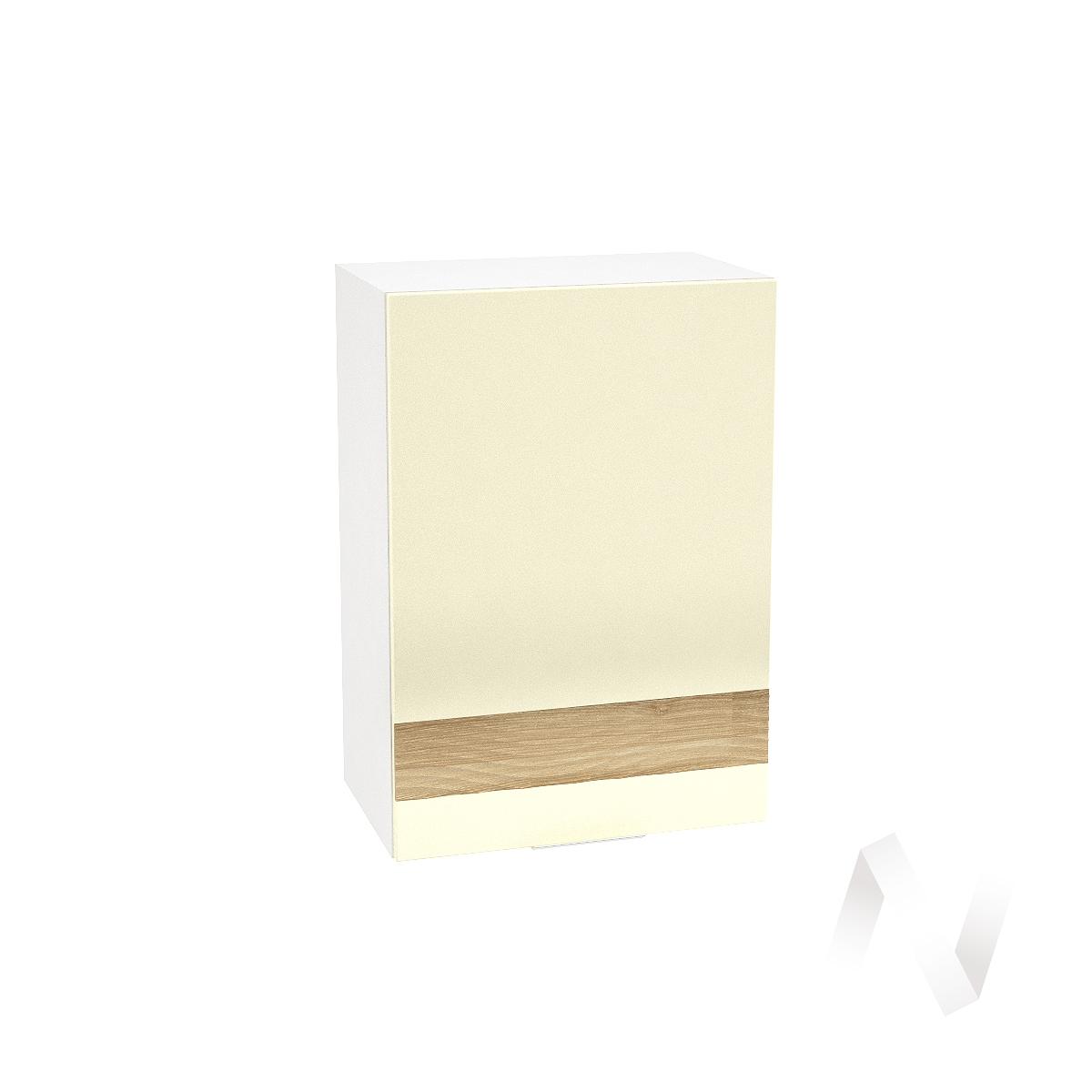 """Кухня """"Терра"""": Шкаф верхний левый 500, ШВ 500 (ваниль софт/ель карпаткая/корпус белый)"""