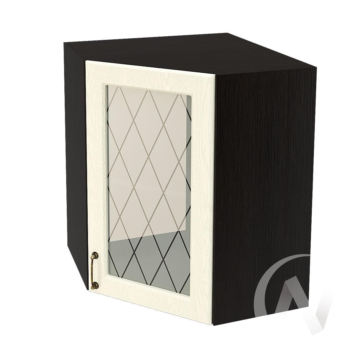 """Кухня """"Ницца"""": Шкаф верхний угловой со стеклом 590, ШВУС 590 (Крем/корпус венге)"""