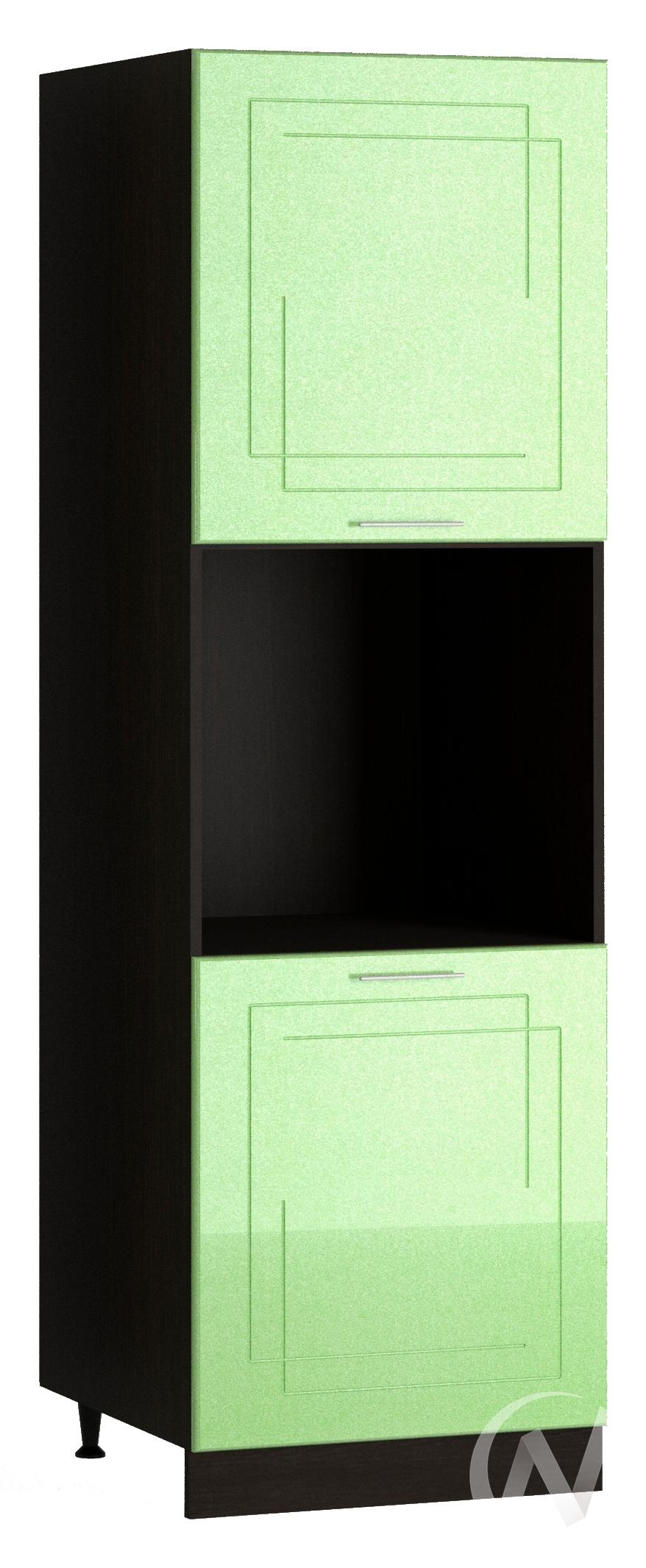 "Кухня ""Вега"": Шкаф пенал 600, ШП 600 (салатовый металлик/корпус венге)"