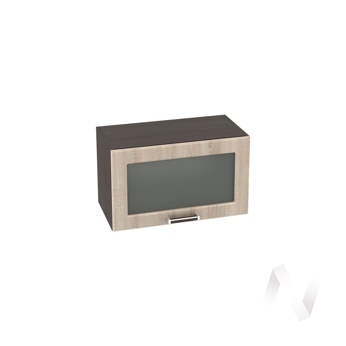 """Кухня """"Прага"""": Шкаф верхний горизонтальный со стеклом 600, ШВГС 600 (дуб сонома/корпус венге)"""