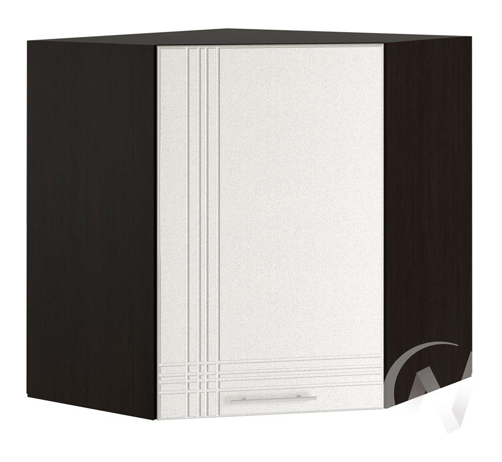 "Кухня ""Струна"": Шкаф верхний угловой 590, ШВУ 590 (белый металлик/корпус венге)"