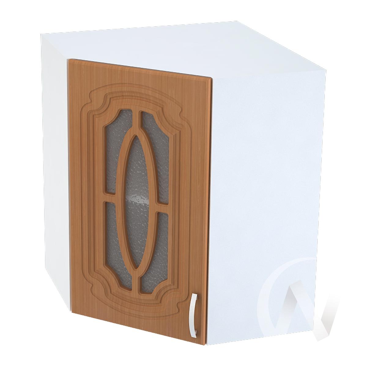 """Кухня """"Настя"""": Шкаф верхний угловой со стеклом 590, ШВУС 590 (Орех миланский/корпус белый)"""