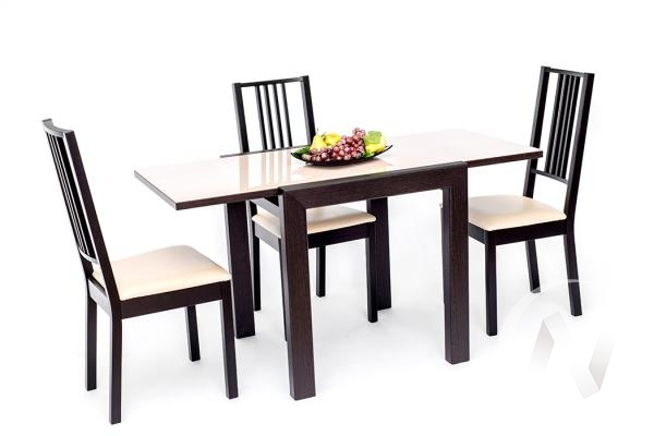 Стол раздвижной Джокер Бизнес 700*700 (венге/стекло белое)