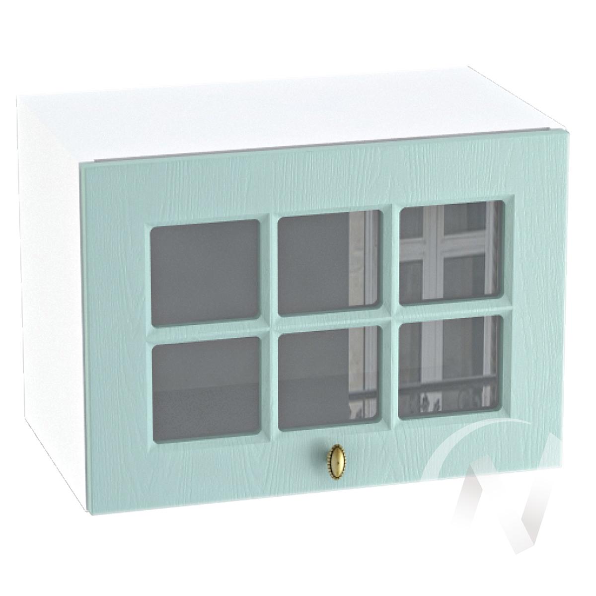 """Кухня """"Прованс"""": Шкаф верхний горизонтальный со стеклом 500, ШВГС 500 (голубой/корпус белый)"""