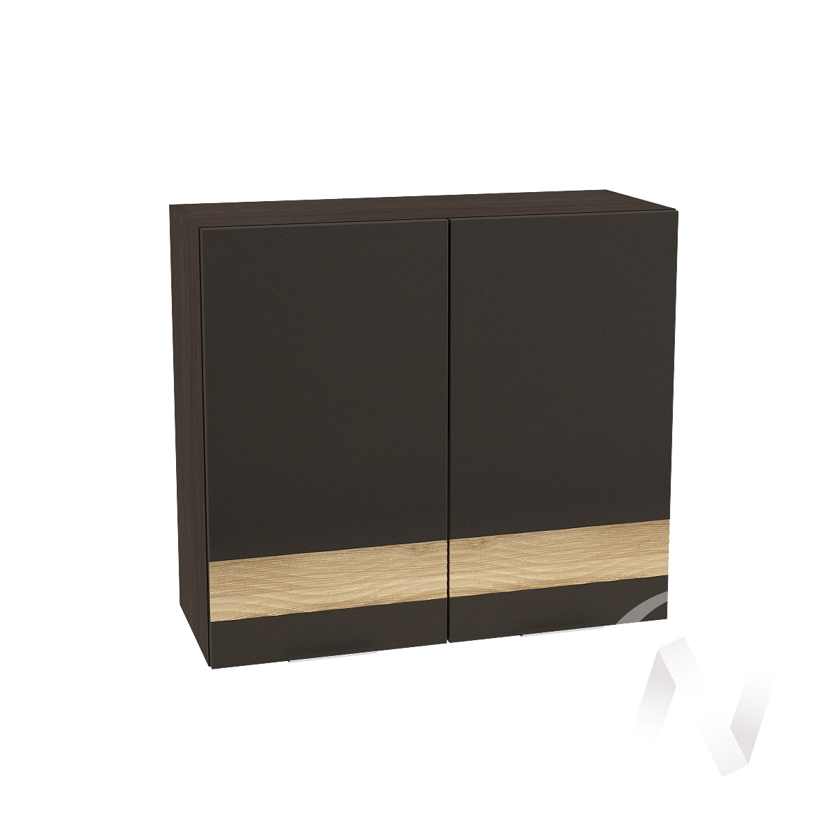 """Кухня """"Терра"""": Шкаф верхний 800, ШВ 800 (смоки софт/ель карпатская/корпус венге)"""