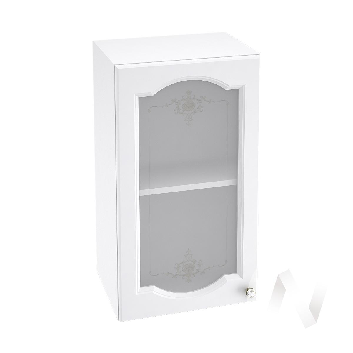 """Купить кухня """"шарлиз"""": шкаф верхний со стеклом 400, швс 400 (корпус белый) в Новосибирске в интернет-магазине Мебель плюс Техника"""