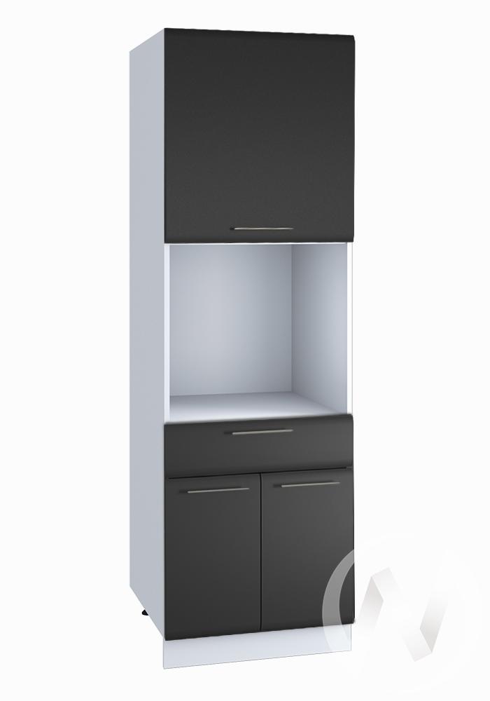 """Кухня """"Люкс"""": Шкаф пенал с ящиком 600, ШП1Я 600 (Шелк венге/корпус белый)"""