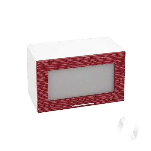 """Кухня """"Валерия-М"""": Шкаф верхний горизонтальный со стеклом 600, ШВГС 600 (Страйп красн./корпус белый)"""