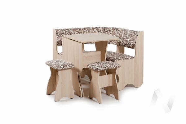 """Набор мебели для кухни """"Тюльпан"""" мини ясень 623 замша (вензель)"""