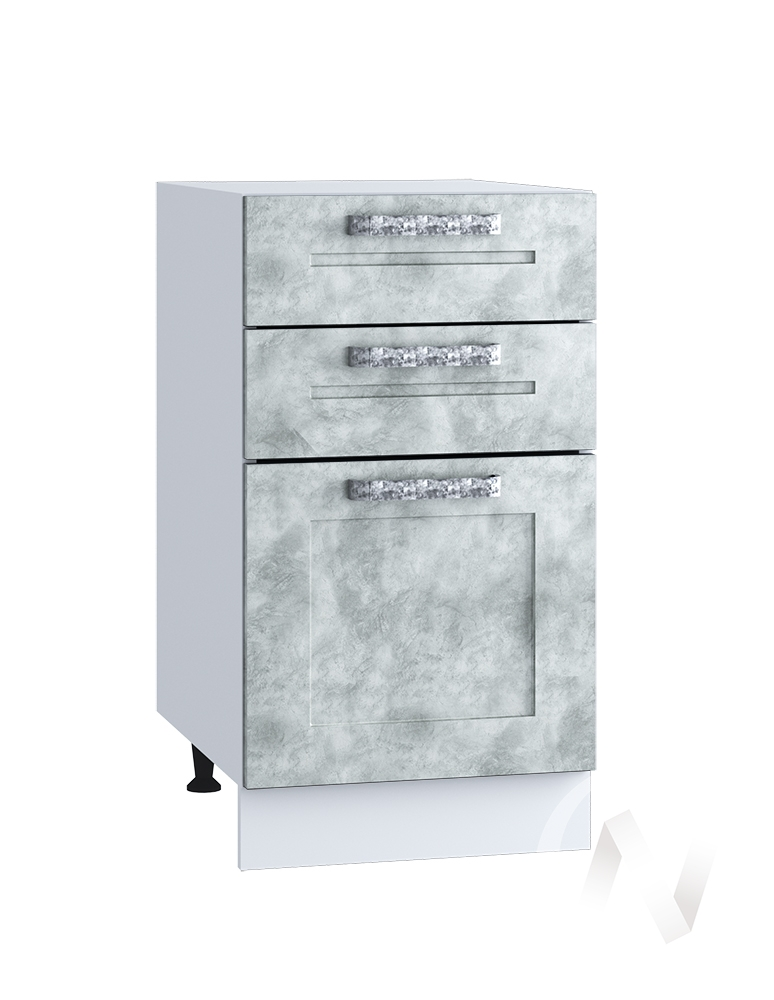 "Кухня ""Лофт"": Шкаф нижний с 3-мя ящиками 400, ШН3Я 400 (Бетон серый/корпус белый)"
