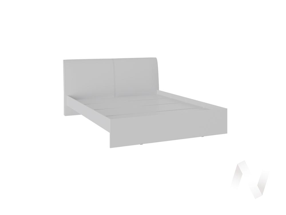 Кровать Доминика 1,4 основание ЛДСП (белый глянец/кожзам белый)
