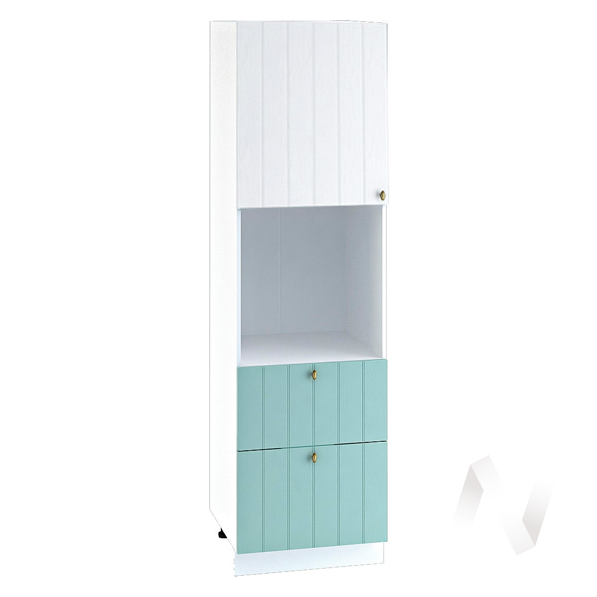"""Кухня """"Прованс"""": Шкаф пенал с 2-мя ящиками 600, ШП2Я 600 (белое дерево/голубой/корпус белый)"""