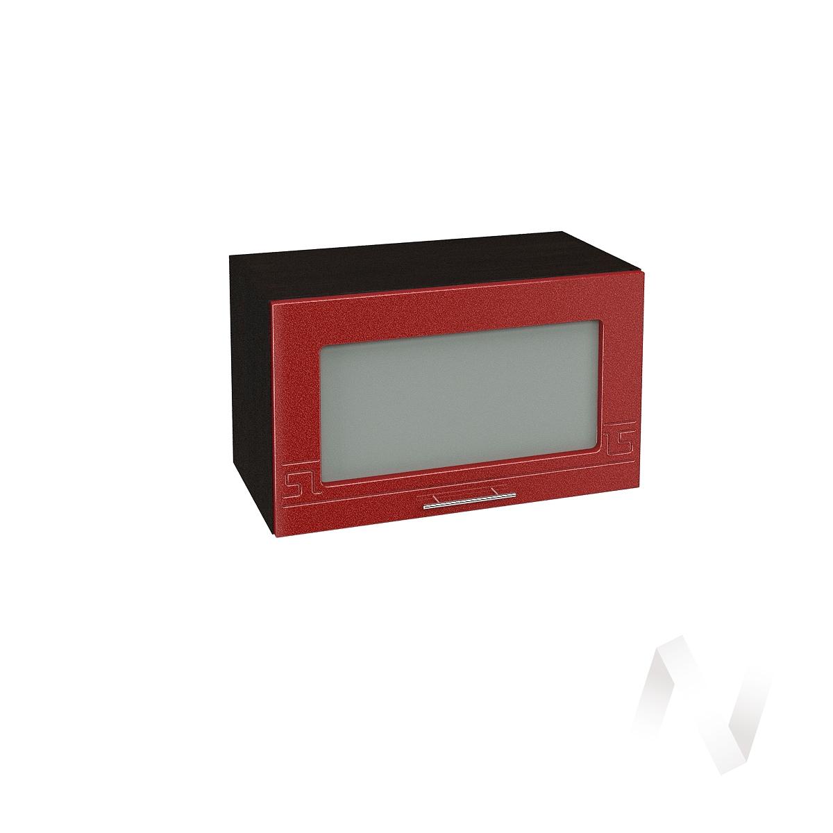 """Кухня """"Греция"""": Шкаф верхний горизонтальный со стеклом 600, ШВГС 600 (гранат. металлик/корпус венге)"""