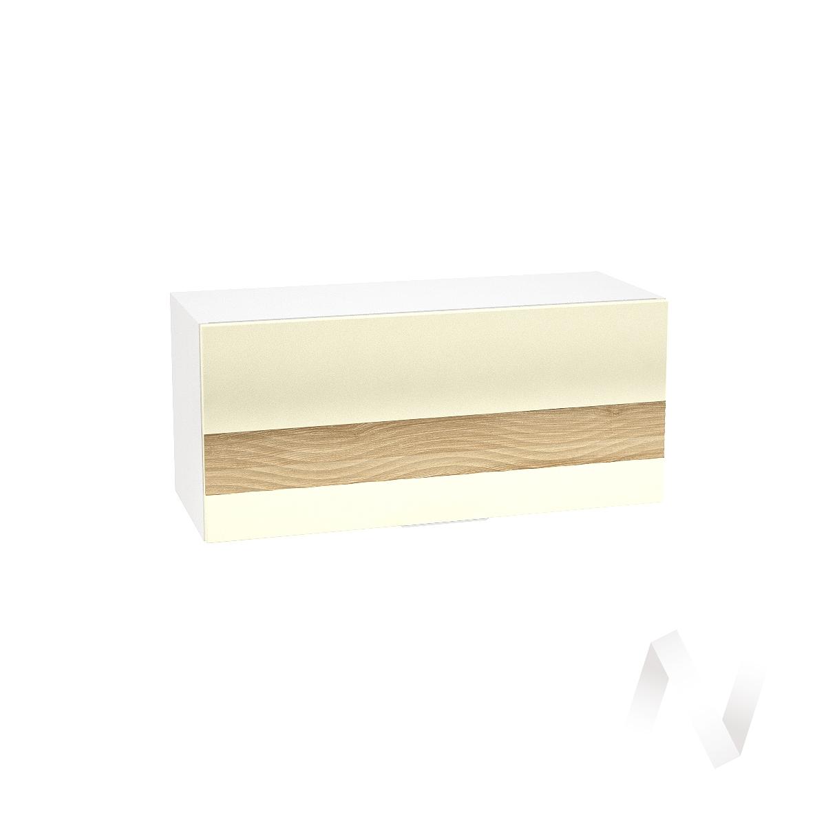 """Кухня """"Терра"""": Шкаф верхний горизонтальный 800, ШВГ 800 (ваниль софт/ель карпатская/корпус белый)"""