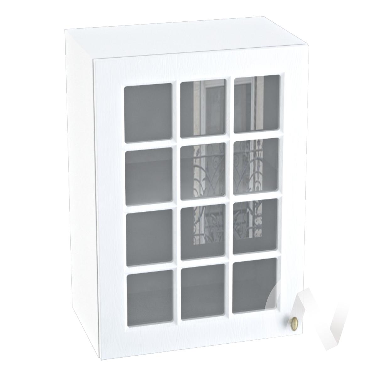 """Кухня """"Прованс"""": Шкаф верхний со стеклом 500, ШВС 500 (белое дерево/корпус белый)"""