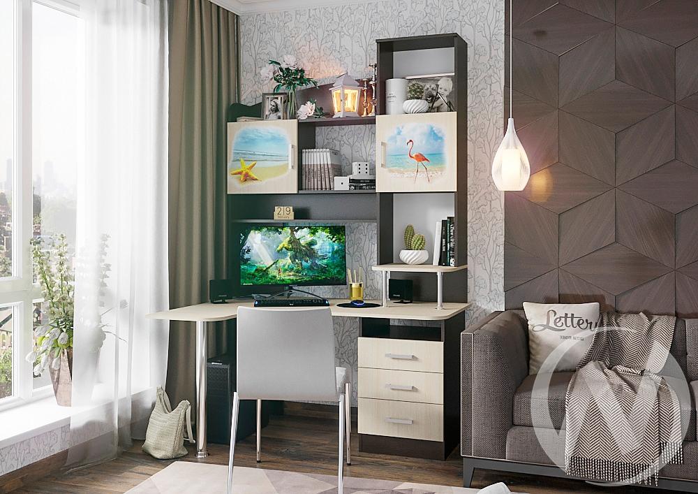 Стол компьютерный №3 Фотопечать (венге/белфорт)