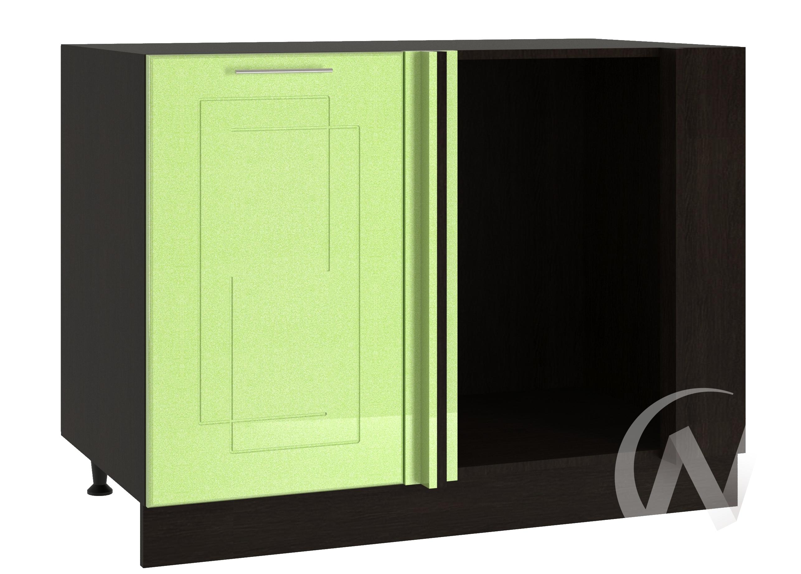 """Кухня """"Вега"""": Шкаф нижний угловой 990М, ШНУ 990М (салатовый металлик/корпус венге)"""