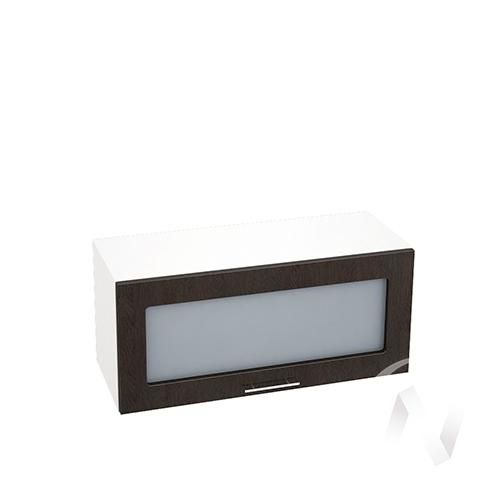 """Кухня """"Валерия-М"""": Шкаф верхний горизонтальный со стеклом 800, ШВГС 800 (венге/корпус белый)"""