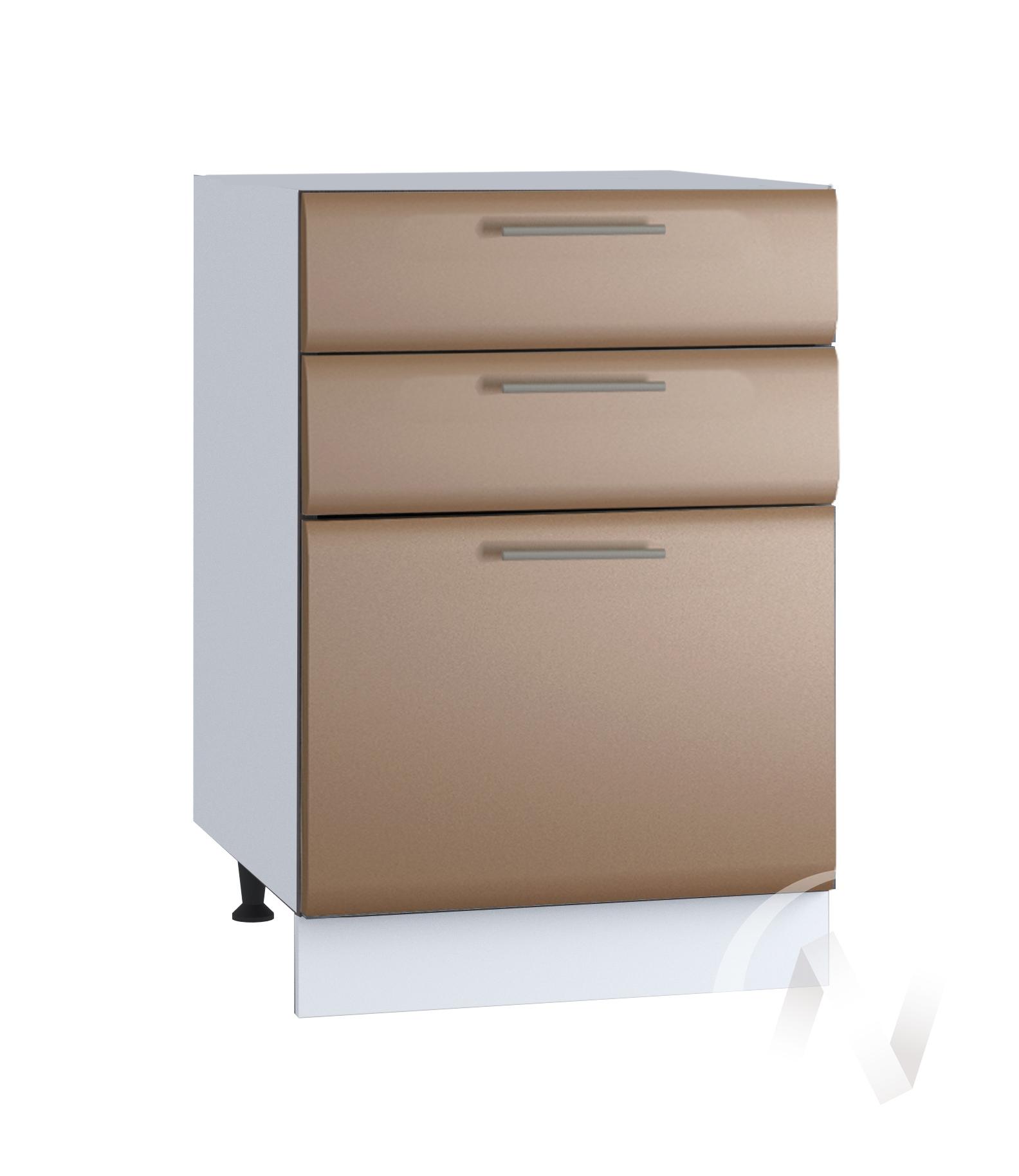 """Кухня """"Люкс"""": Шкаф нижний с 3-мя ящиками 500, ШН3Я 500 (Шоколад матовый/корпус белый)"""