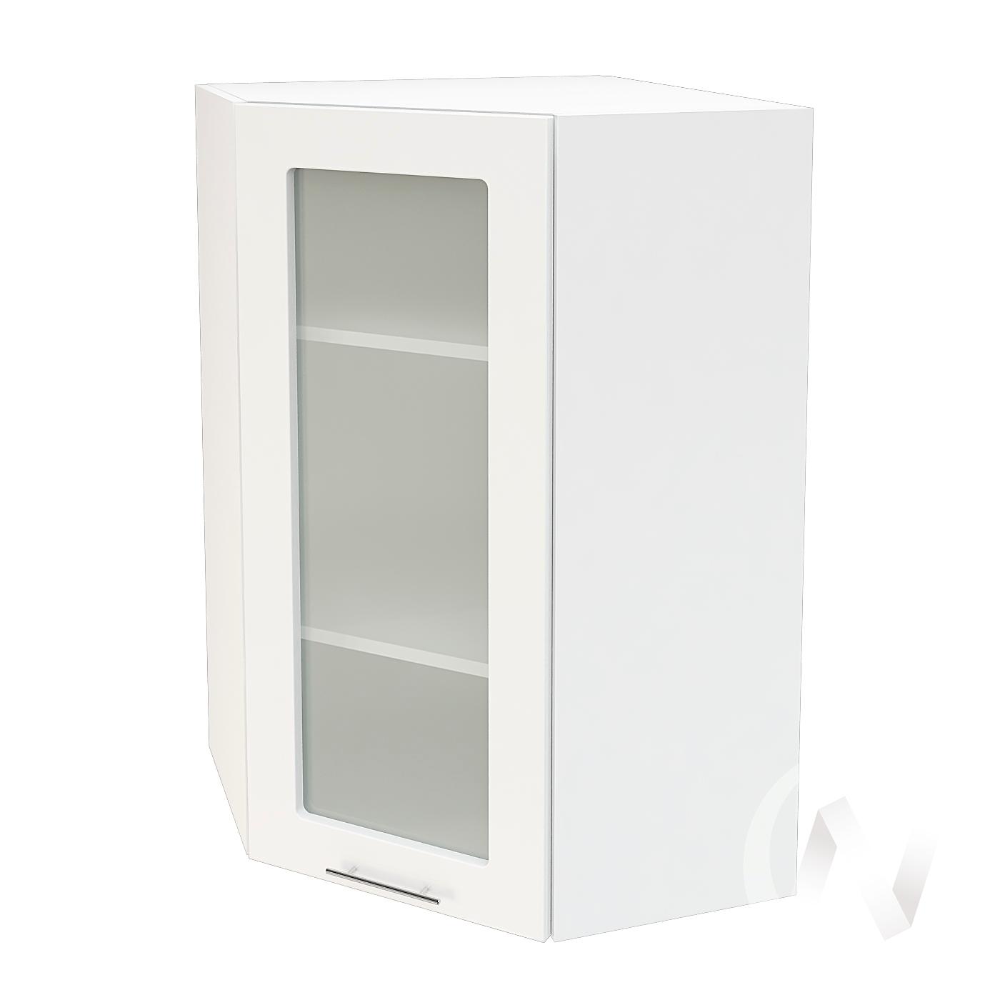 """Кухня """"Валерия-М"""": Шкаф верхний угловой со стеклом 599, ШВУС 599 (белый глянец/корпус белый)"""