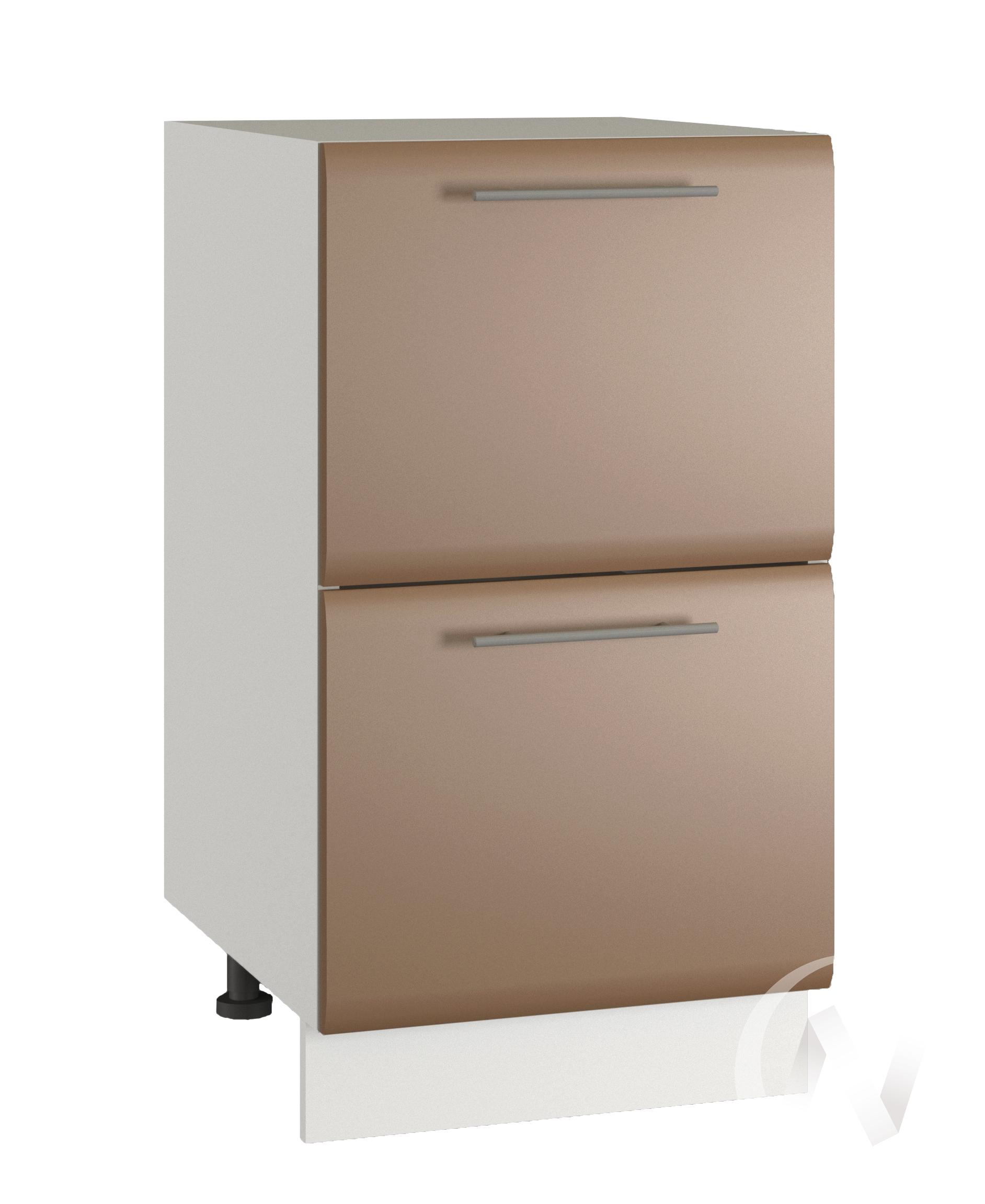 """Кухня """"Люкс"""": Шкаф нижний с 2-мя ящиками 400, ШН2Я 400 (Шоколад матовый/корпус белый)"""