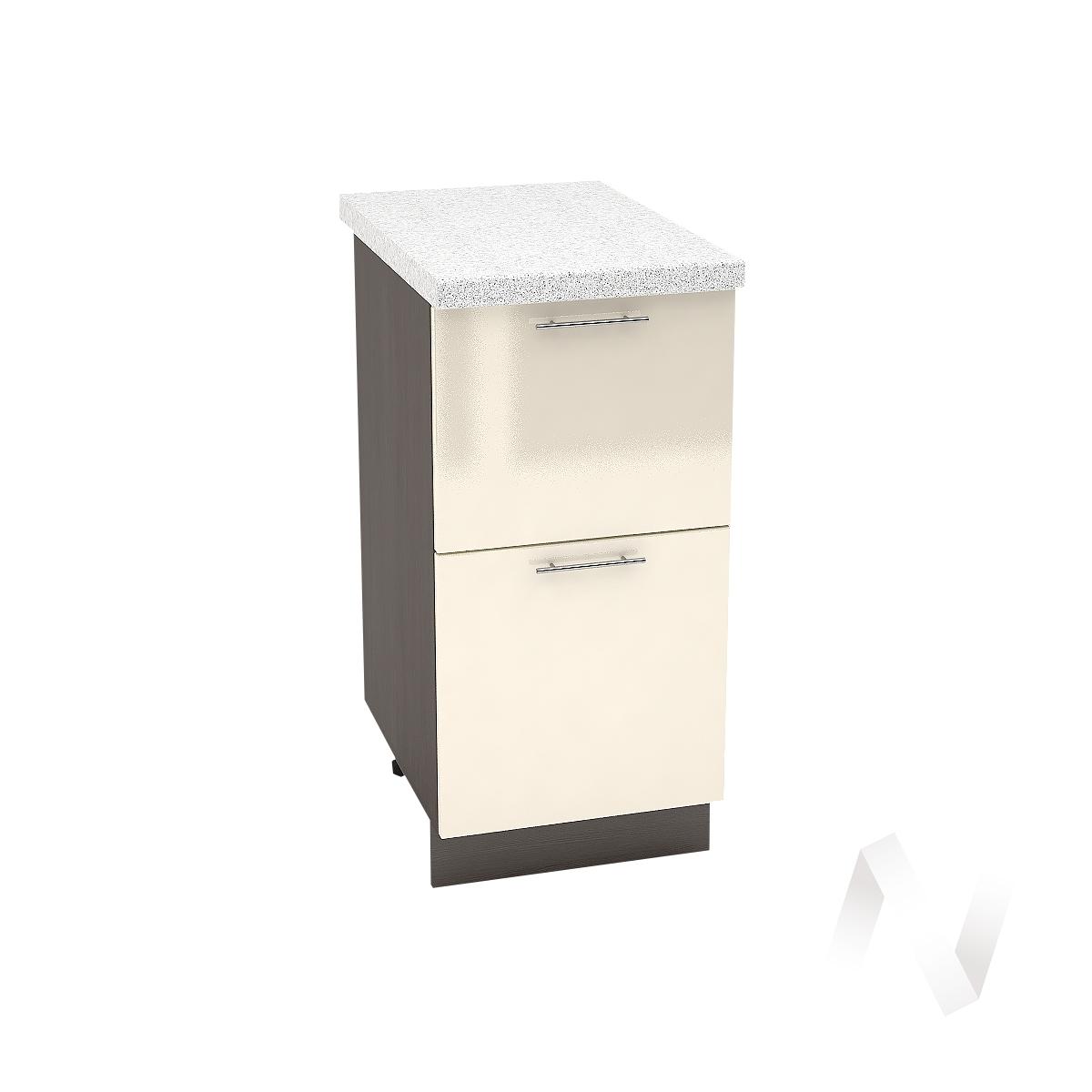 "Кухня ""Валерия-М"": Шкаф нижний с 2-мя ящиками 400, ШН2Я 400 (Ваниль глянец/корпус венге) УТ-000274"
