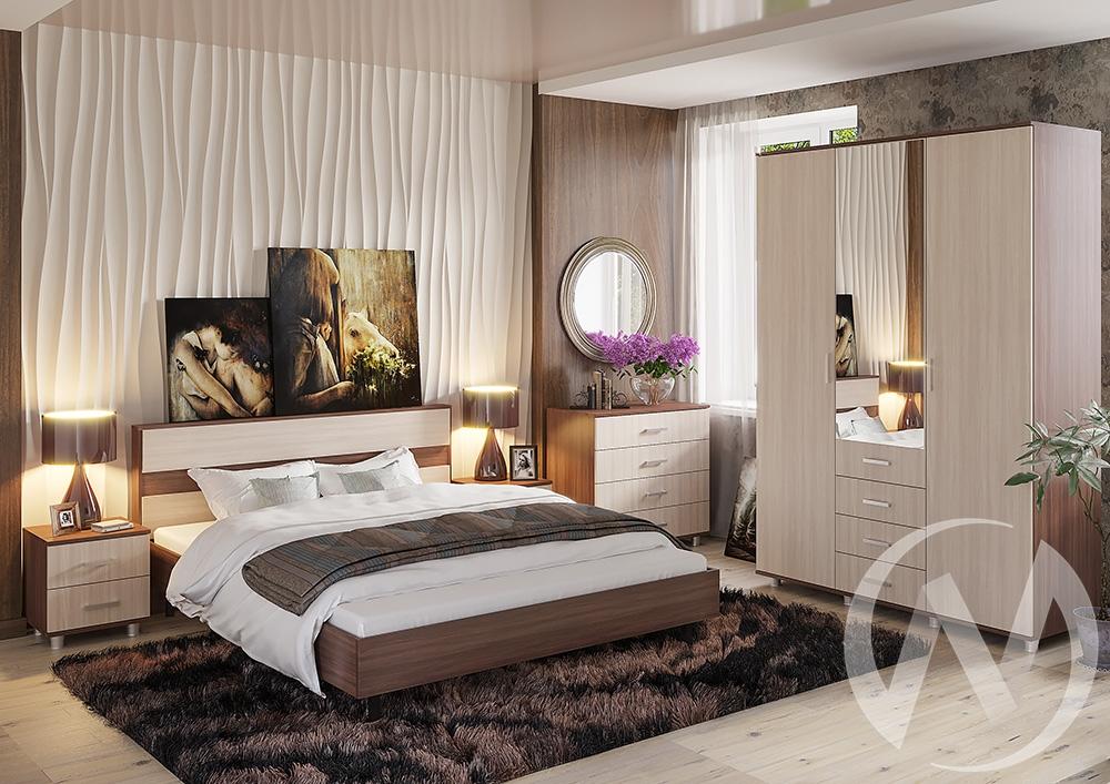 """Спальня """"Монако"""" (Шимо тёмный/Шимо светлый)  в Новосибирске - интернет магазин Мебельный Проспект"""