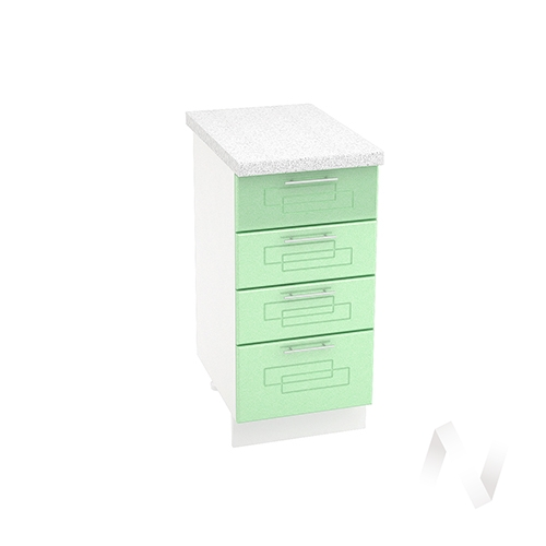 """Кухня """"Вега"""": Шкаф нижний с 4-мя ящиками 400, ШН4Я 400 (салатовый металлик/корпус белый)"""