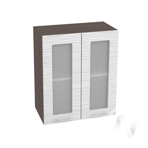 """Кухня """"Валерия-М"""": Шкаф верхний со стеклом 600, ШВС 600 (Страйп белый/корпус венге)"""