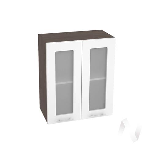 """Кухня """"Валерия-М"""": Шкаф верхний со стеклом 600, ШВС 600 (белый глянец/корпус венге)"""