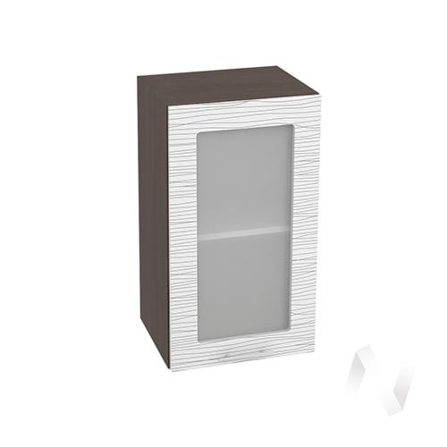 """Кухня """"Валерия-М"""": Шкаф верхний со стеклом 400, ШВС 400 (Страйп белый/корпус венге)"""