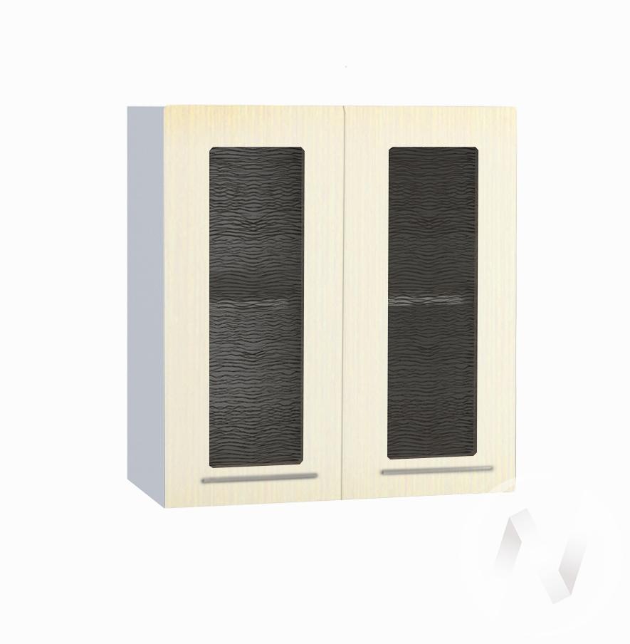"""Кухня """"Люкс"""": Шкаф верхний со стеклом 600, ШВС 600 (Шелк жемчуг/корпус белый)"""