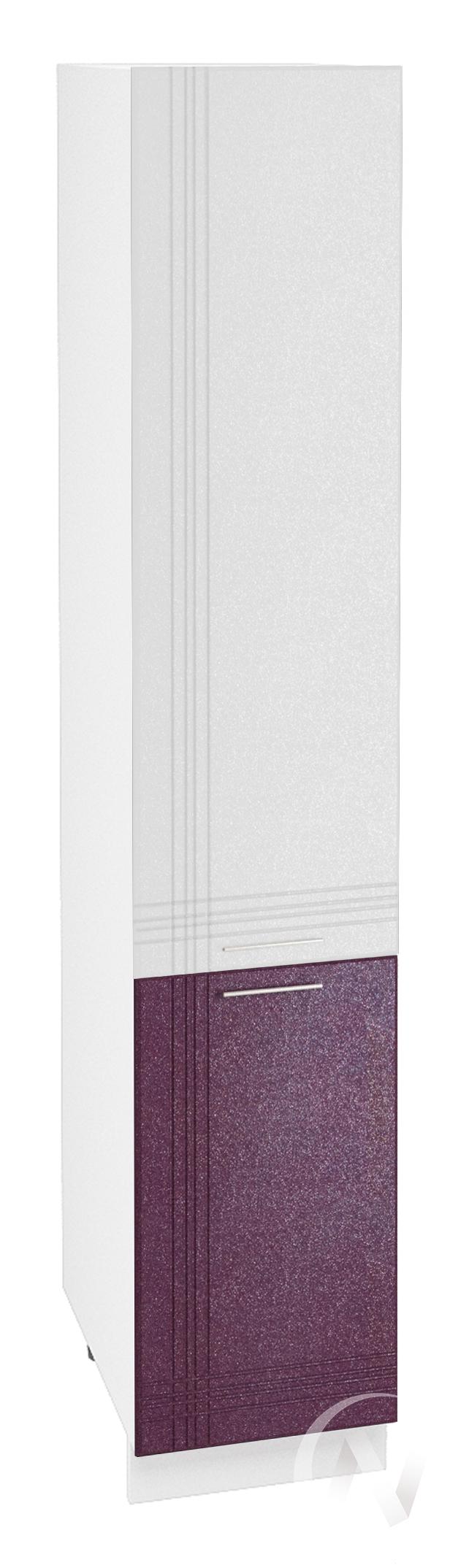 """Кухня """"Струна"""": Шкаф пенал 400, ШП 400 (белый/фиолетовый металлик/корпус белый)"""