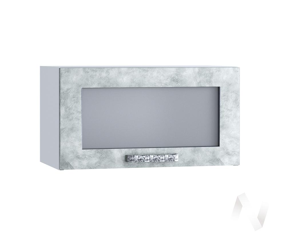 """Кухня """"Лофт"""": Шкаф верхний горизонтальный со стеклом 600, ШВГС 600 (Бетон серый/корпус белый)"""