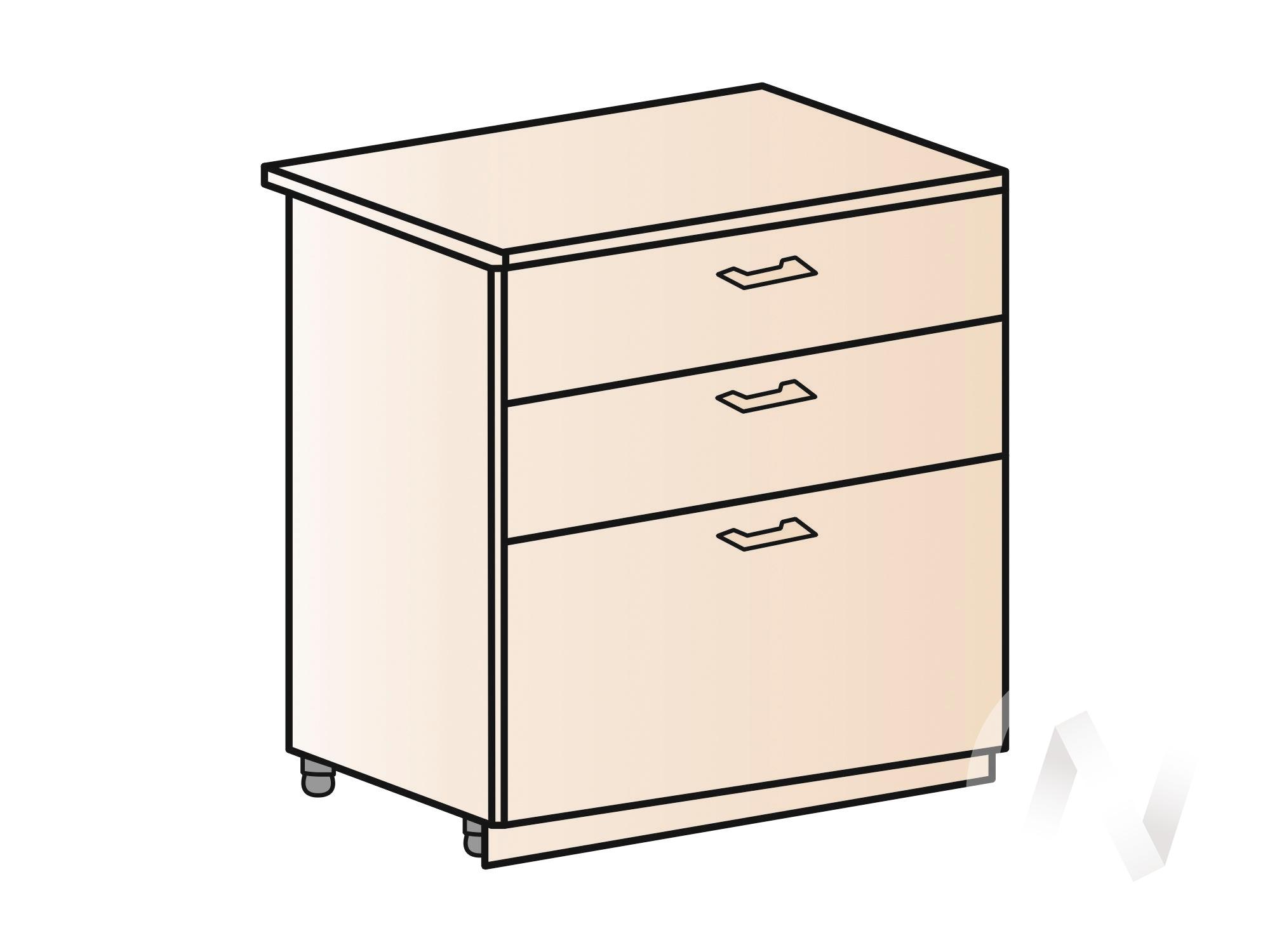"""Кухня """"Вена"""": Шкаф нижний с 3-мя ящиками 800, ШН3Я 800 (корпус белый) в Новосибирске в интернет-магазине мебели kuhnya54.ru"""