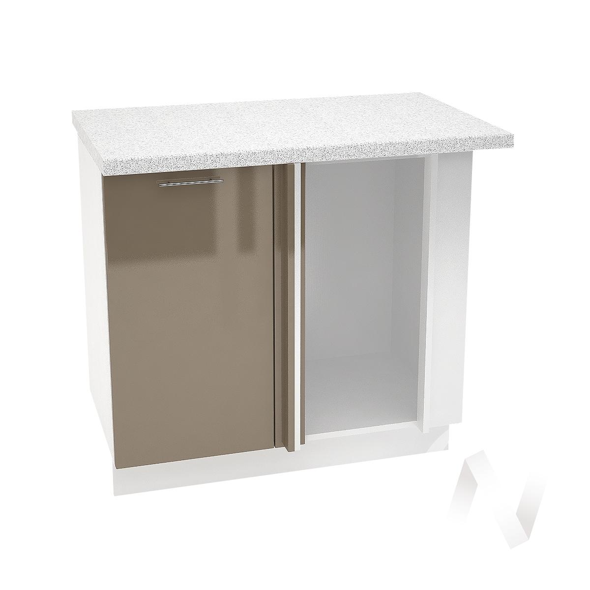 "Кухня ""Валерия-М"": Шкаф нижний угловой 990М, ШНУ 990М (Капучино глянец/корпус белый)"