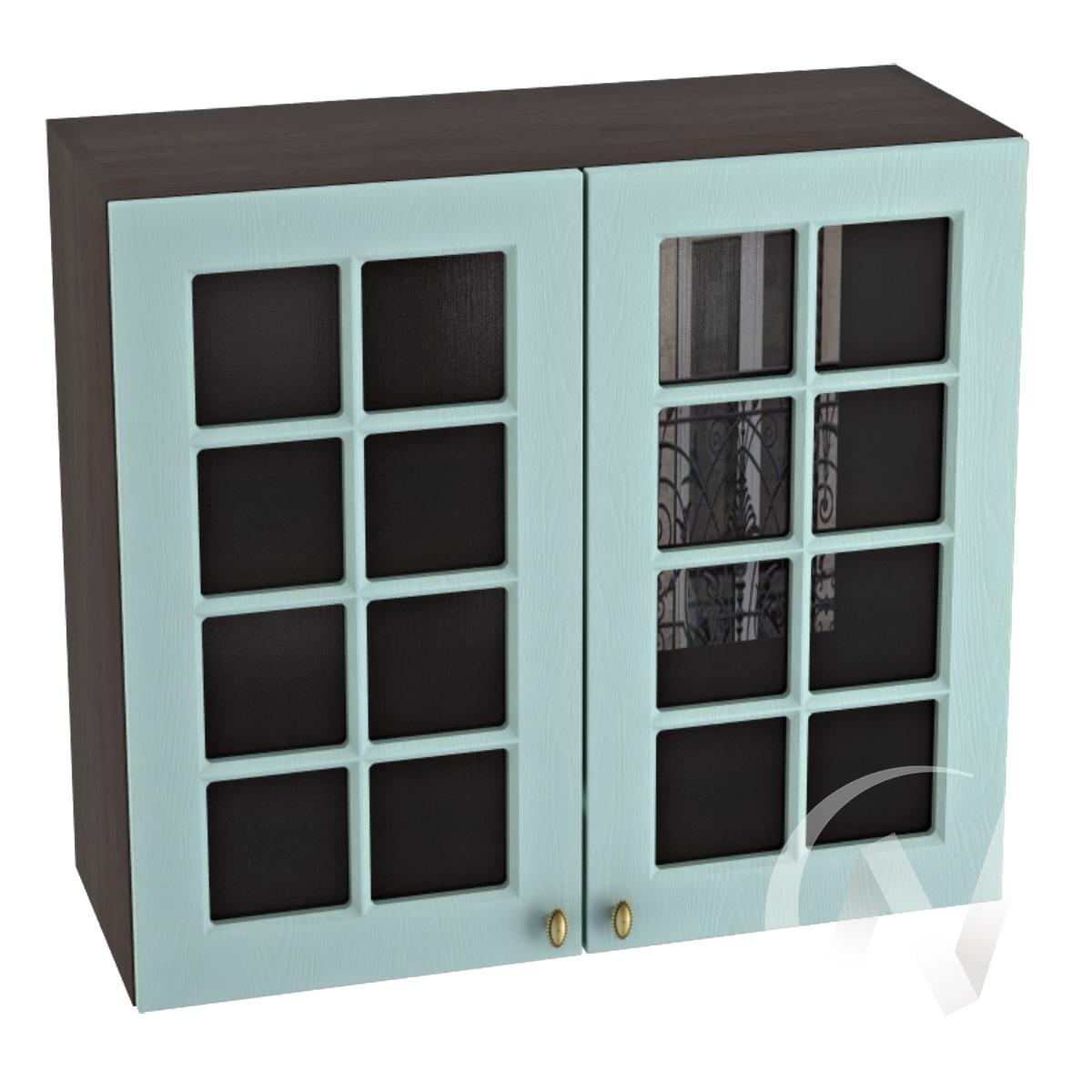 """Кухня """"Прованс"""": Шкаф верхний со стеклом 800, ШВС 800 (голубой/корпус венге)"""