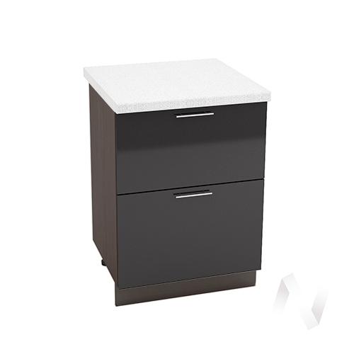 """Кухня """"Валерия-М"""": Шкаф нижний с 2-мя ящиками 600, ШН2Я 600 (черный металлик/корпус венге)"""